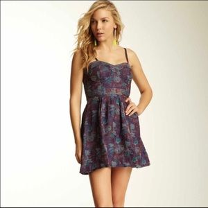 Free People Blue Floral Tapestry Fit Flare Dress